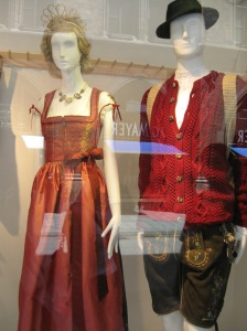 Traditional Bavarian clothing in a shop in fashionable downtown Munich