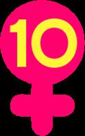 Yellow ten (10) inside of a pink Venus symbol