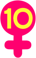 Image of Scale of Inclusivity score, yellow number ten inside a pink Venus symbol