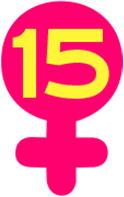 Her Story Arc Scale of Inclusivity image, a yellow number 15 inside of a pink Venus symbol