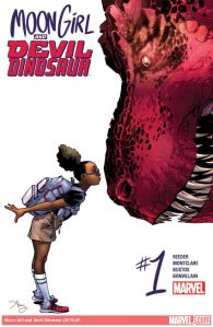 Lunella, AKA Moon Girl, and Devil Dinosaur, on the cover of the first issue of the series