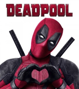 Deadpool poster featuring title and Deadpool in costume making a heart with his hands