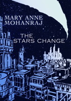 Cover of The Stars Change, featuring a university skyline and the stars above, raked through by a long white slash