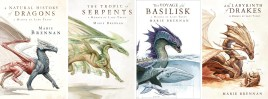 Covers of each of the first four books in the Memoirs of Lady Trent series. Each features a different kind of dragon with various scientific notations around it