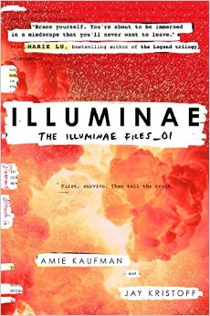 Cover of Illuminae by Amie Kaufman, featuring an orange explosion with some parts whited-out as if censored.