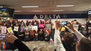 MSP Airport - 75% of the flight were women on their way to the march.
