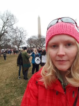 Lindsey Taveren at the Washington Monument during the Women's March on Washington