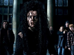 Bellatrix threatens Harry, Ron, and Hermione