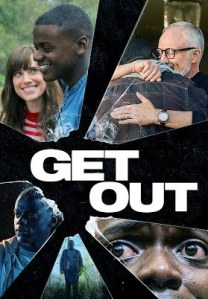 Poster of shattered glass, with each pane showing a different scene from the movie Get Out
