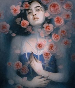 la beaute sans vertu cover art by Tran Nguyen, featuring a young woman in fashionable clothing in a pool of water surrounded by flowers