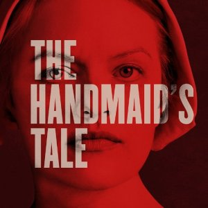 The title of A Handmaid's Tale superimposed over main character Offred's face