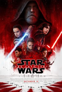 A movie poster with a large image of Luke Skywalker, and smaller pictures of Leia Organa, Rey, and Kylo Ren from The Last Jedi