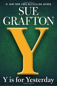 Cover of Y is for Yesterday by Sue Grafton, with a green background and big letter Y on the front